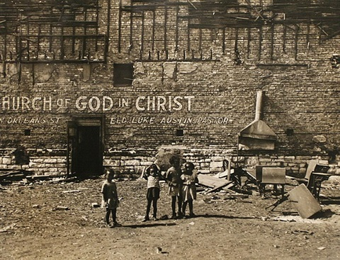"untitled (children in a vacant lot / ""church of god in christ"" signage on brick wall), chicago, 1946 by walker evans"
