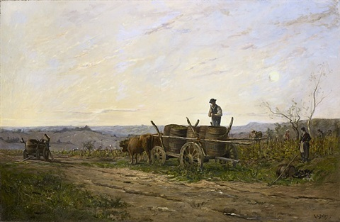 harvest in the vineyards of sancerre, in morning light by hippolyte camille delpy