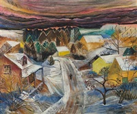 village in winter by marguerite thompson zorach