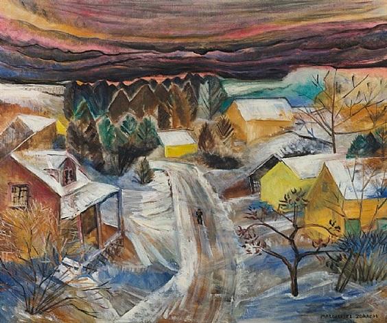 village in winter by marguerite thompson zorach