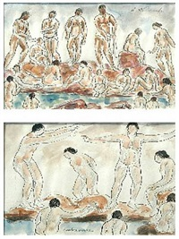 bathers diptych by abraham walkowitz