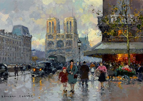 notre dame, paris (sold) by edouard léon cortès