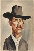 man with hat and mustache by thomas hart benton