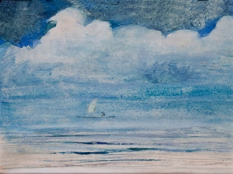 on the beach. satapuala. upolu, samoa. moonlight by john la farge