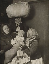 slovak group at ellis island, 1905<br /> printed: 1921 by lewis wickes hine