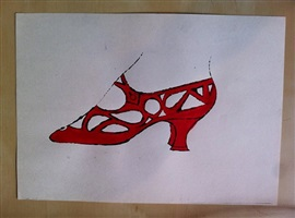 shoe (red) by andy warhol