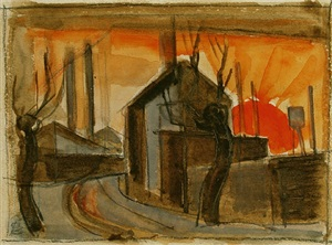 railroad station, silver lake by oscar florianus bluemner