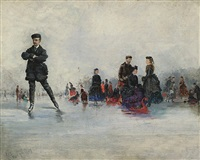 the skating party, paris by conrad wise chapman