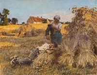 repos, effet de grand soleil, moisonneur endormi, mezy by léon augustin lhermitte