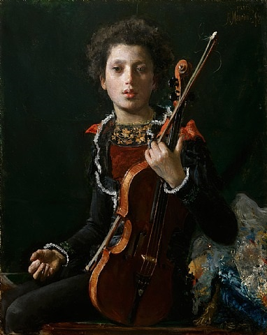 portrait of luigino gianchetti, holding a violin by antonio mancini