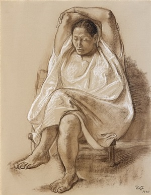 woman with dress by francisco zúñiga