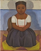 niña sentada (not for sale) by diego rivera