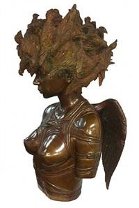 mujer con pajaros (sold) by roberto fabelo