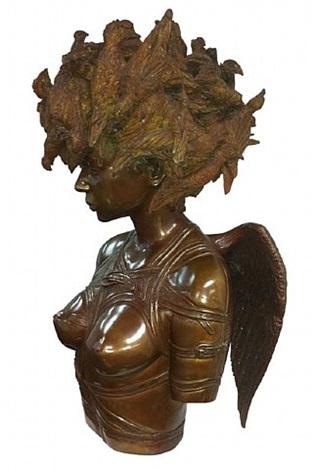 mujer con pajaros by roberto fabelo