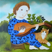 little boy with lute by geneviève jost