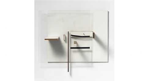 abstract in white, black and natural wood by victor pasmore