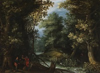 hunters with hounds by a stream in a forest by jan brueghel the elder
