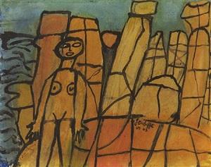 baigneuse nue dans les rochers de cassis by jean dubuffet