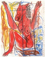 untitled (red figure with blue portrait) by alejandro santiago