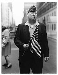 veteran with a flag, n.y.c. by diane arbus