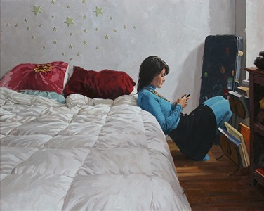 texting in bedroom (sold) by vincent giarrano