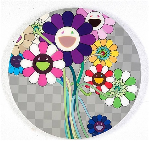 purple flowers in a bouquet by takashi murakami