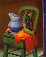 still life on a chair by fernando botero