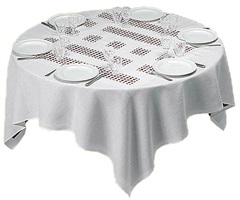 photo-souvenir : unique tablecloth with laser-cut lace (object to be situated on table), édition, by daniel buren