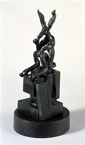 small thinker on computer by barry flanagan