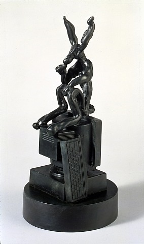 (small thinker on computer) by barry flanagan