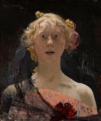 portrait de la femme de l'artiste en buste, vue de face by henri martin