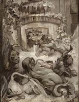 projet de fontaine animé de putti, de tritons et d'un cygne by jean baptiste henri deshays