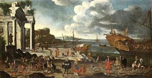 vue d'un port imaginaire avec des ruines, une galère au mouillage, animé de pêcheurs et nobles sur la jetée by joseph heintz the younger
