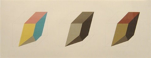 forms derived from a cube in colour (simple & superimposed) & black & grey) by sol lewitt