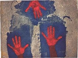 manos sobre fondo azul by rufino tamayo