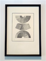 three views of half circle module with square cross-section tilted at 22 1/2 degrees by clement meadmore