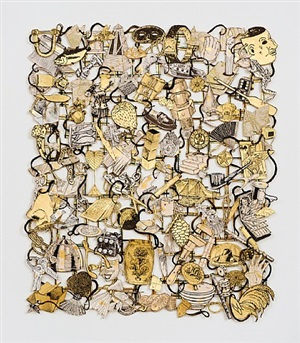 loose tapestry of daily life (mask) by jane hammond