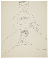 seated male nude by andy warhol