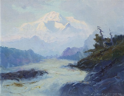 mount mckinley from the rapids of the tokositna river by sydney mortimer laurence