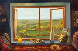 room with landscape of burgundy (habitación con paisaje de borgoña) by elena climent