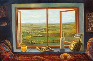 room with landscape of burgundy (habitación con paisaje de borgoña) by elena climent