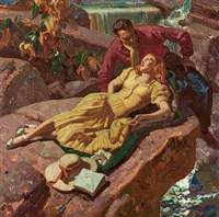 couple on rocks by dean cornwell