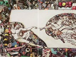 the creation of adam after michelangelo (pictures of junk) by vik muniz