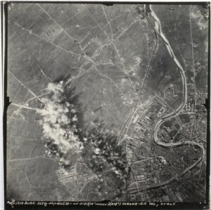 aerial incendiary bombs dropping on european sites: verona railroad yards, italy by anonymous