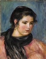 gabrielle à l'écharpe noire by pierre-auguste renoir