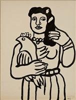 femme a l'oiseau by fernand léger