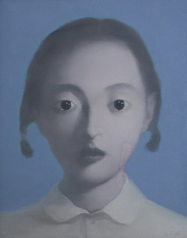little girl with bunches by zhang xiaogang