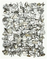 loose tapestry of daily life (nail puzzle) by jane hammond