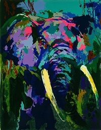 portrait of an elephant by leroy neiman