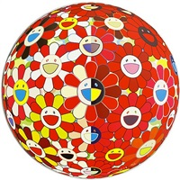 flowerball red (3d) - the magic flute by takashi murakami
